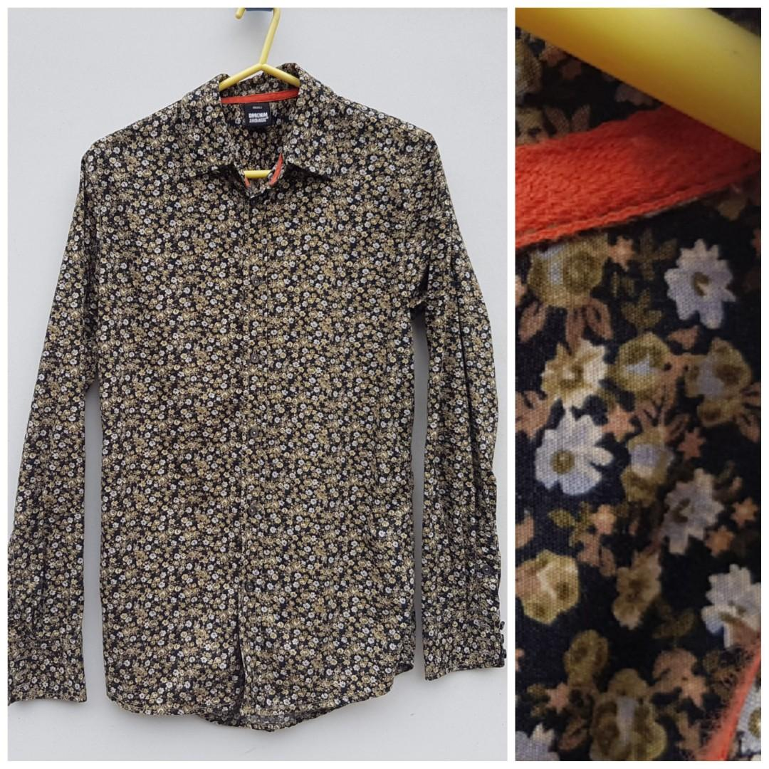 Dr Denim Floral Shirt Button Up Slim Fit S Spring Summer