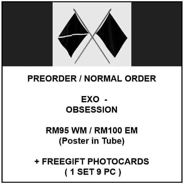 EXO - OBSESSION - PREORDER/NORMAL ORDER/GROUP ORDER/ALBUM GO + FREE GIFT BIAS PHOTOCARDS (1 ALBUM GET 1 SET PC, 1 SET GET 9 PC)
