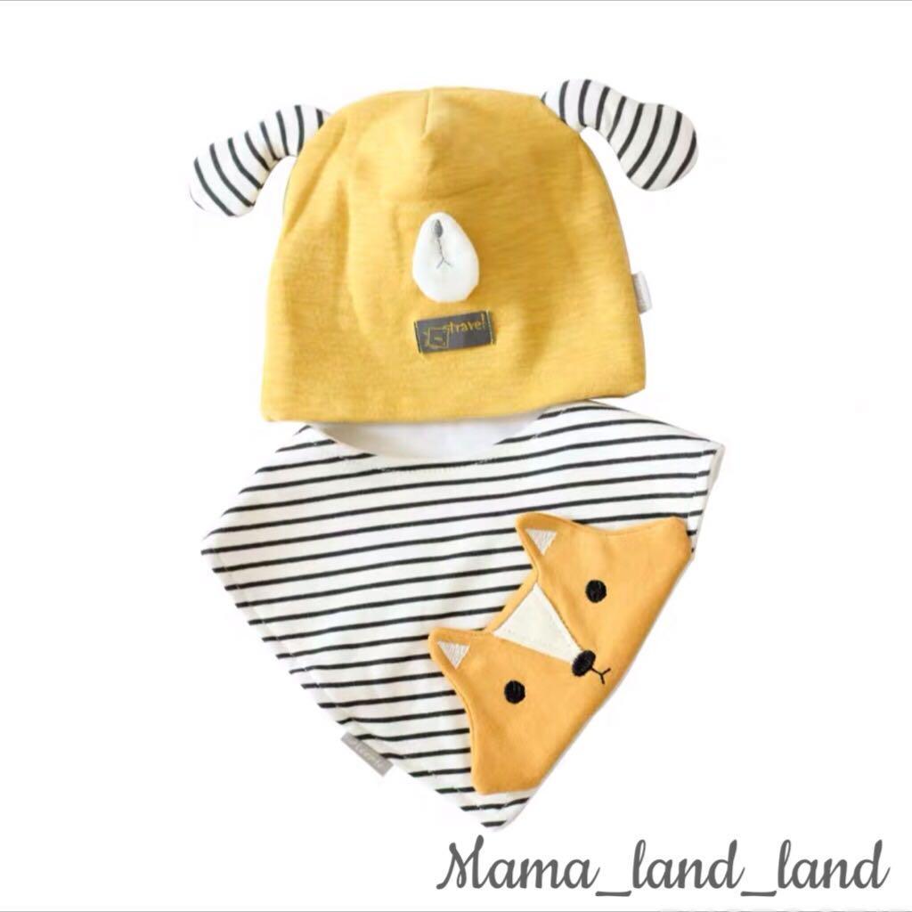 <Gift Set 🎁> Lovely newborn baby cotton embroidered bibs + hat@Set