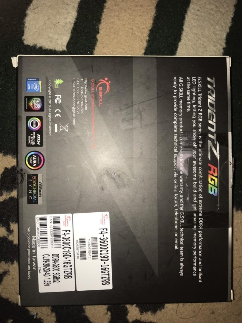 Gskill DDR4 TridentZ RGB 16GB (2x8GB) F4-3600C19D-16GTZRB Dual Channel
