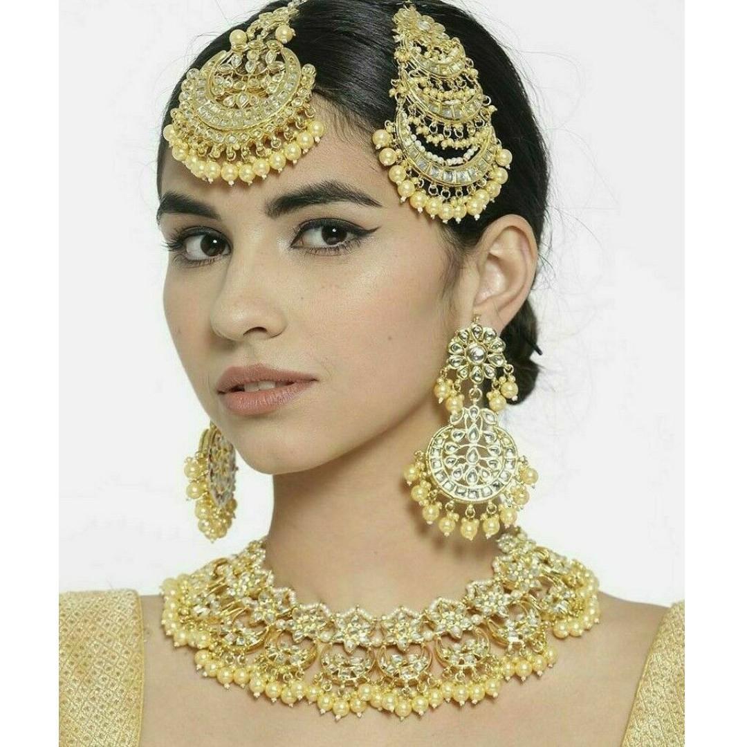 Indian Pakistani Bridal Jewelry Set Faux Pearl Pink Colour