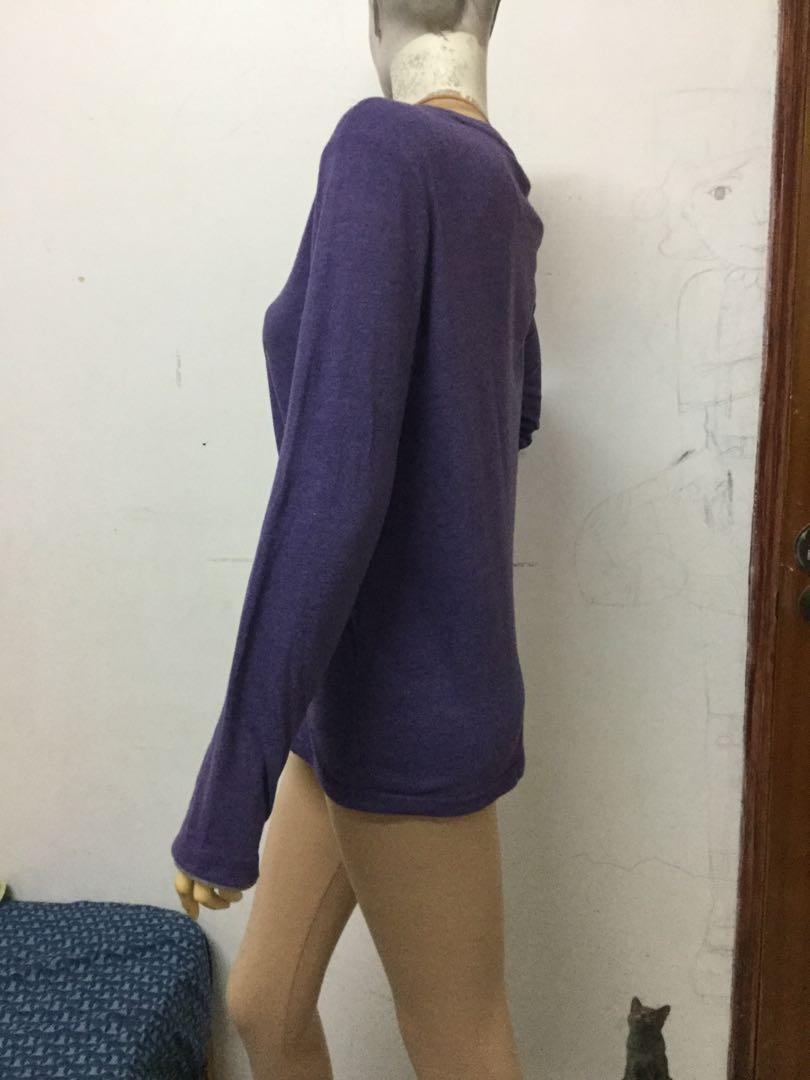 N+T男生黛紫色印刷圖案長袖S號上衣