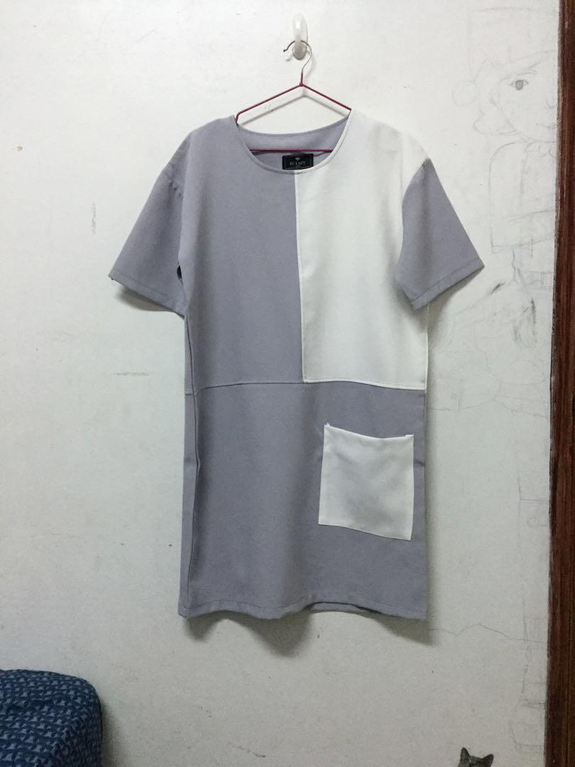 RC LADY拼接薰衣草紫F號短袖洋裝