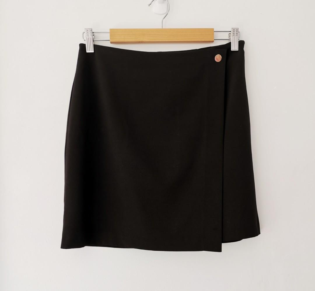 Tokito (Myer) Wrap Effect Skirt in Black - Size 10