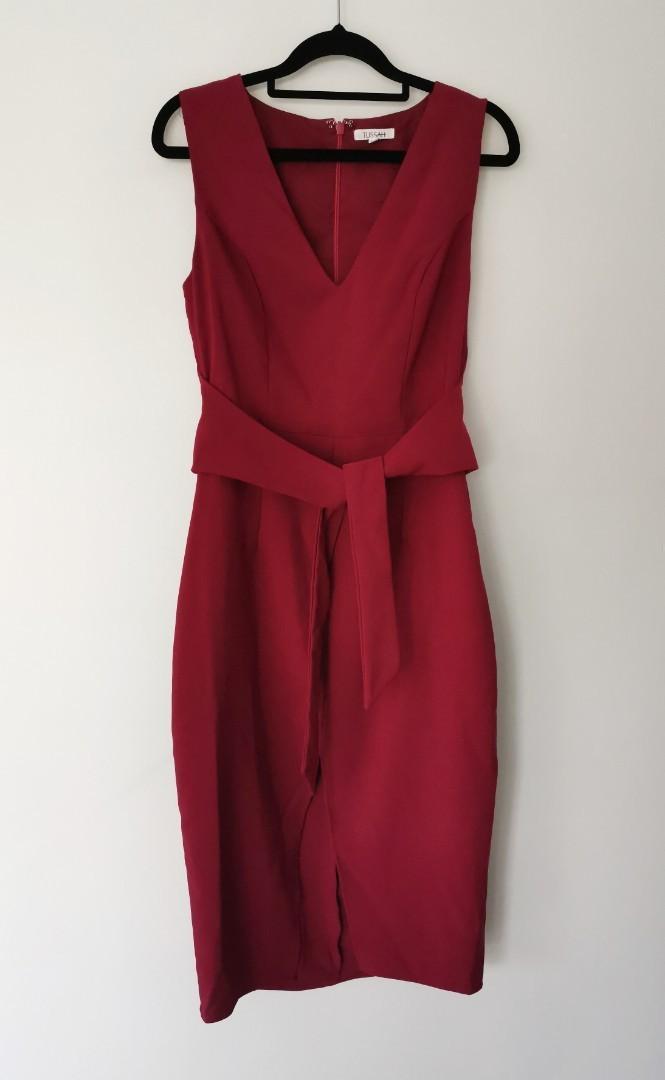 Tussah Celestina Midi Dress in Berry Red - Size 10 RRP $120