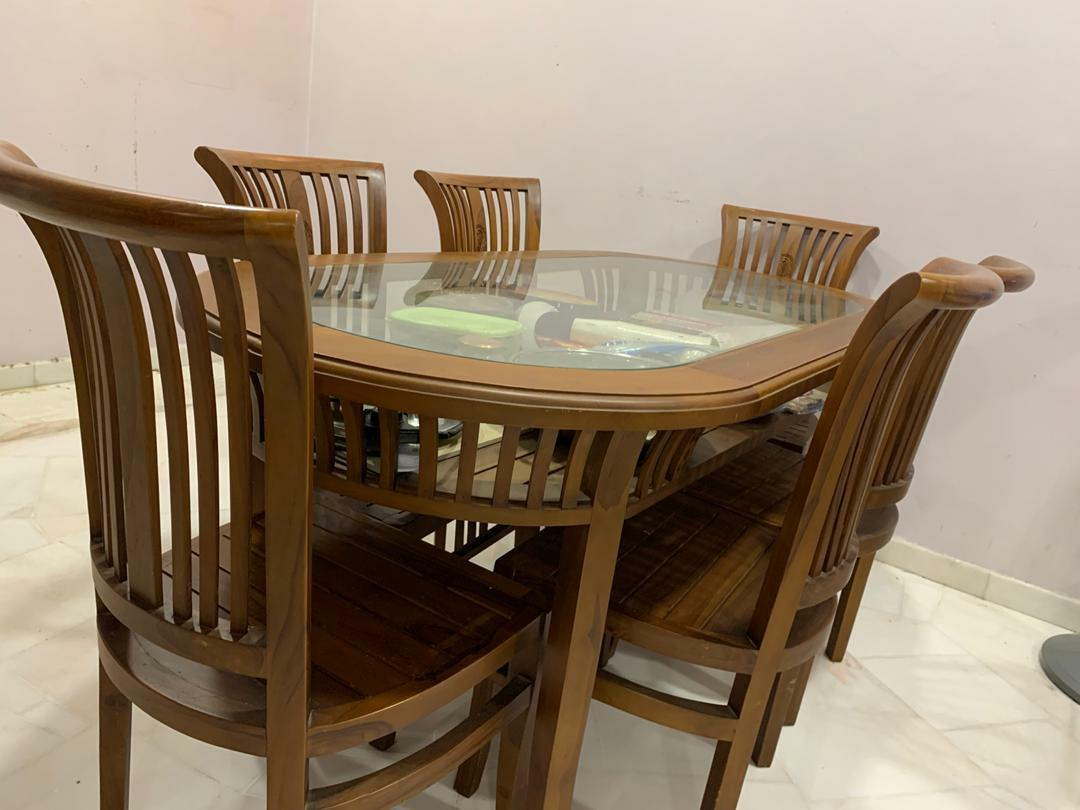 Used Solid Wood Dining Table With 6 Chairs Home Furniture Furniture On Carousell
