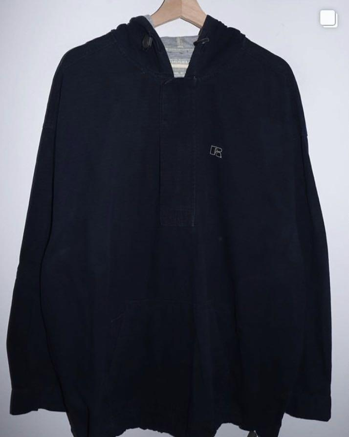 Vintage Russell Athletic Half-Zip Hoodie (Navy Blue)