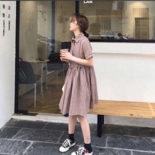 咖啡格子洋裝