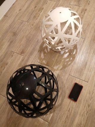 """Ceiling Pendant Light Round Shade / Cover Used Black or White large 14 """""""