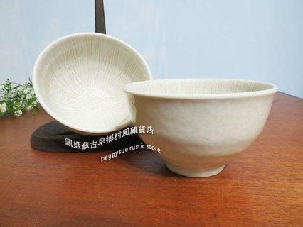 [佩姬蘇 食器](2入)400ml-日式自然風格素色淡雪花點點直線刷紋轆轤陶瓷碗-陶碗純手工製造飯碗小碗醬料碗二手