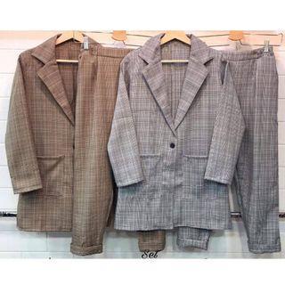plaid blazer (grey, choco)