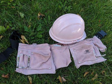 Pink Hard Hat and Tool Belt