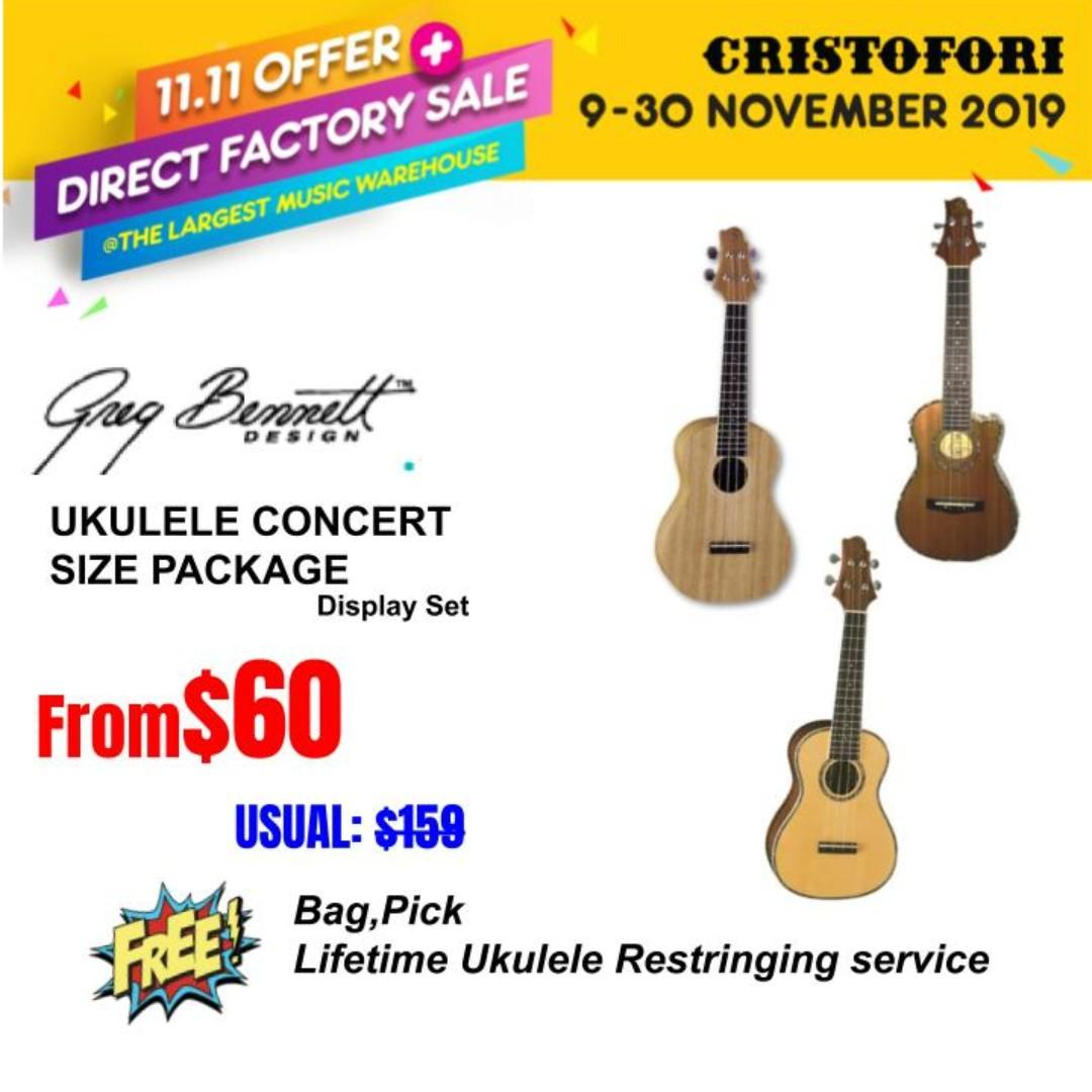 11.11 CRISTOFORI LARGEST MUSIC WAREHOUSE SALES !!! Greg Bennett Concert Size Ukulele from $60 (Studio Set)