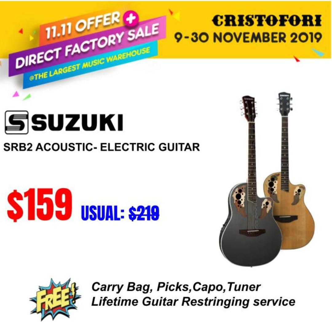 11.11 CRISTOFORI LARGEST MUSIC WAREHOUSE SALES !!! Suzuki Acoustic-Electric Guitar SRB2