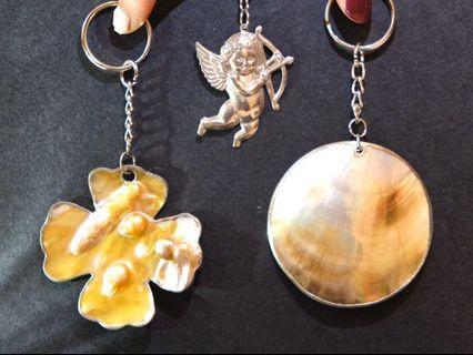 手作可愛天然貝殼幸運草小天使鑰匙圈吊飾