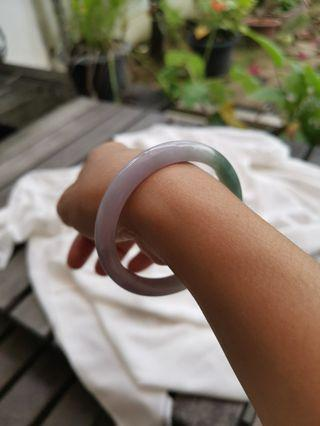New Jadeite Jade Lavender with Blusih Green High Translucent Bangle 55mm