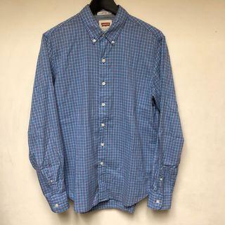 Levis 長袖襯衫 格子 藍 Vintage uniqlo gap gu hm vintage muji 古著 可參考