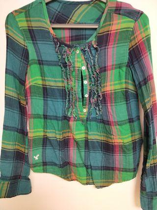 American eagle 綠格紋襯衫