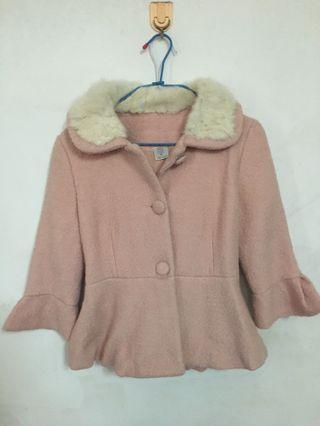 質感粉色毛外套(附綁帶)