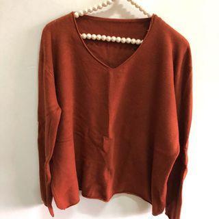 二手韓版深橘色長袖短版厚針織毛衣 百搭上衣
