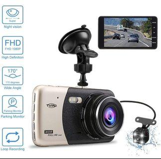 Tvird Car Dash Camera Front and Rear Car Video Recorder 1080P Full HD 170°Wide Angle G-Sensor Parking Monitor Loop Recording Motion Detection