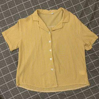 黃色格子襯衫