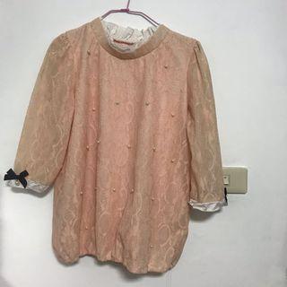 出清-女性粉色長袖上衣 珍珠 蝴蝶結