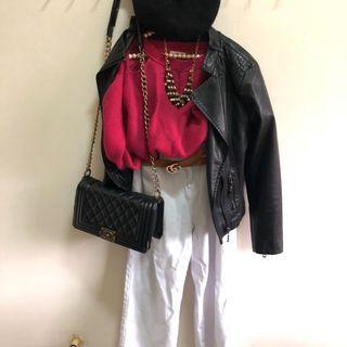 二手韓版桃紅包長袖短版厚針織毛衣 百搭上衣