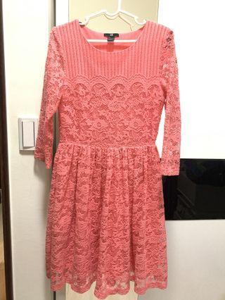H&M 精緻蕾絲長洋裝(有內裡)