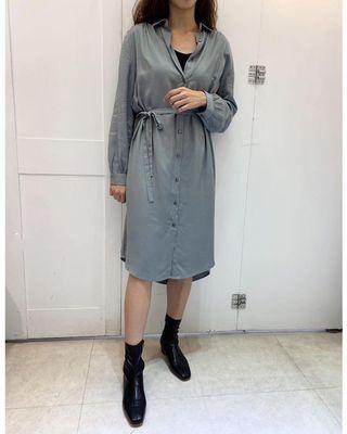 全新韓國東大門連線 霧藍襯衫連身綁帶洋(莫蘭迪)顯瘦
