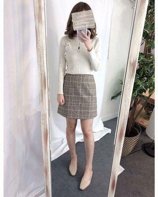 全新韓國東大門帶回 挺版混毛呢好看格紋短裙 A字裙 淺可可 S 全新轉賣