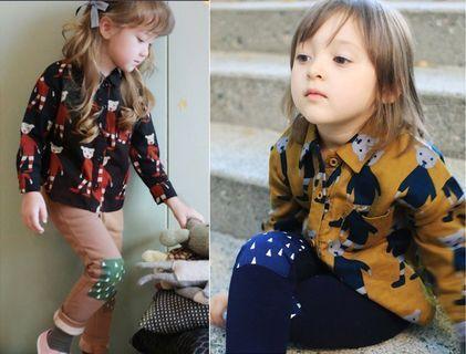 女童小熊圖案印花加絨襯衫+配套補丁加絨打底褲 套裝 女童套裝 全新5號