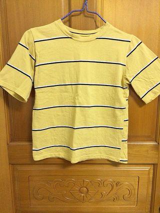 韓版芥末黃條紋上衣