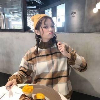 韓版寬鬆百搭格子毛衣