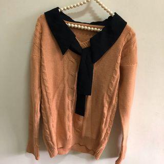 二手韓版淺橘色長袖短版厚針織毛衣 百搭上衣