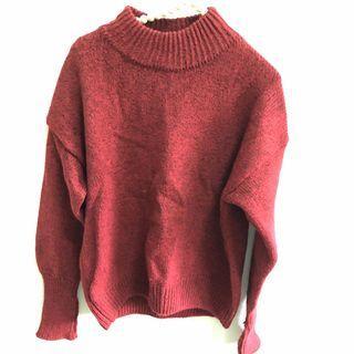 二手韓版大紅色立領長袖短版厚針織毛衣 百搭上衣