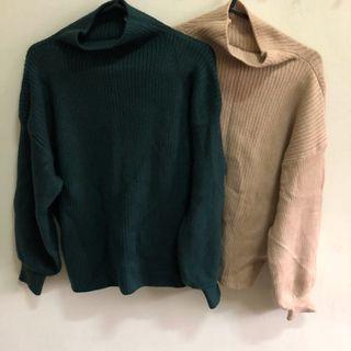 二手(兩色墨綠、杏)韓版長袖短版厚針織毛衣 百搭上衣