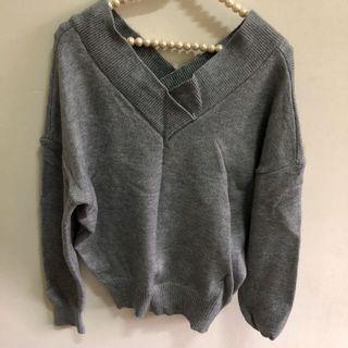 二手韓版灰色長袖短版厚針織毛衣 百搭上衣