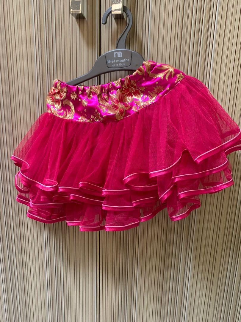 2 pcs setelan cheongsam anak perempuan imlek pink rok tutu