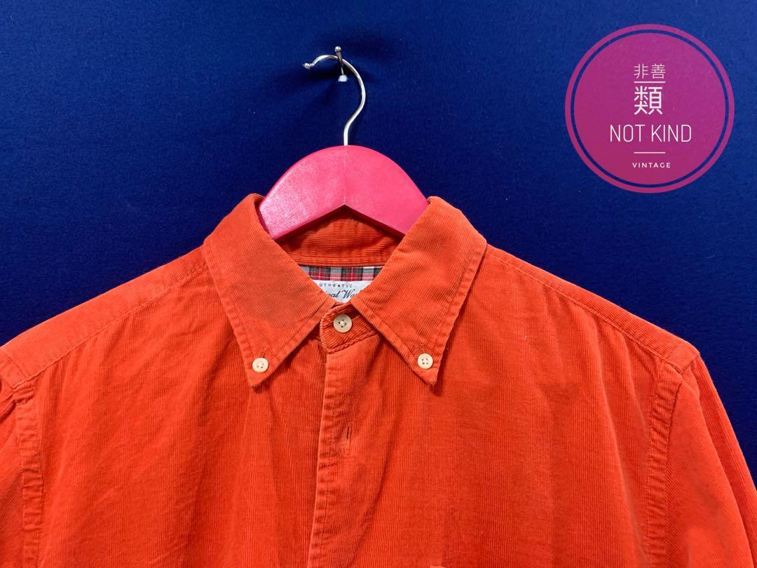消防橘燈芯絨厚磅襯衫