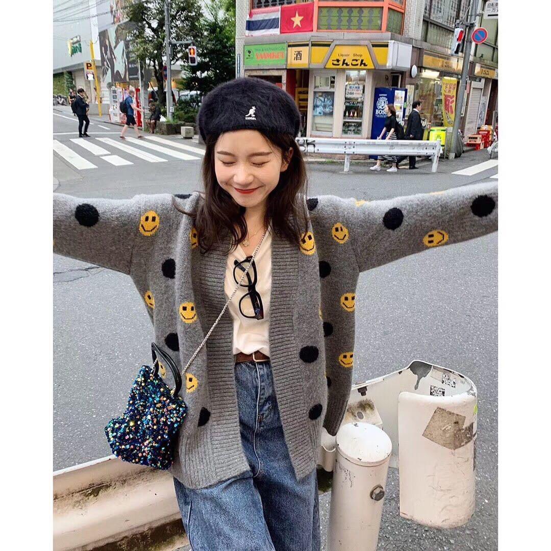 微笑針織外套