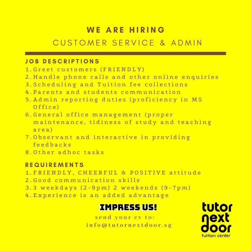 Admin and Customer Service