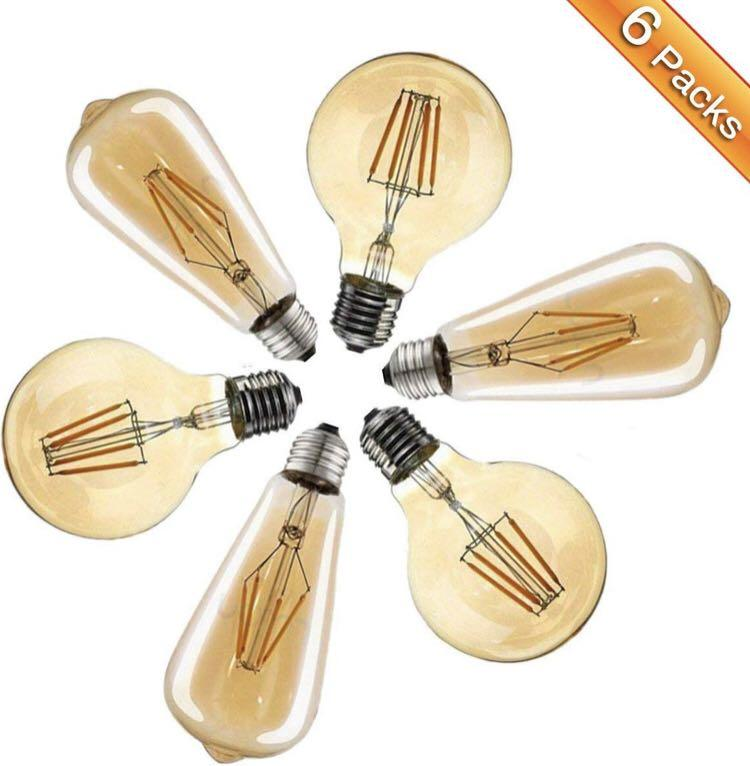 (B0046) ST64 & G80 E27 LED Vintage Light Bulbs 4W 6pack
