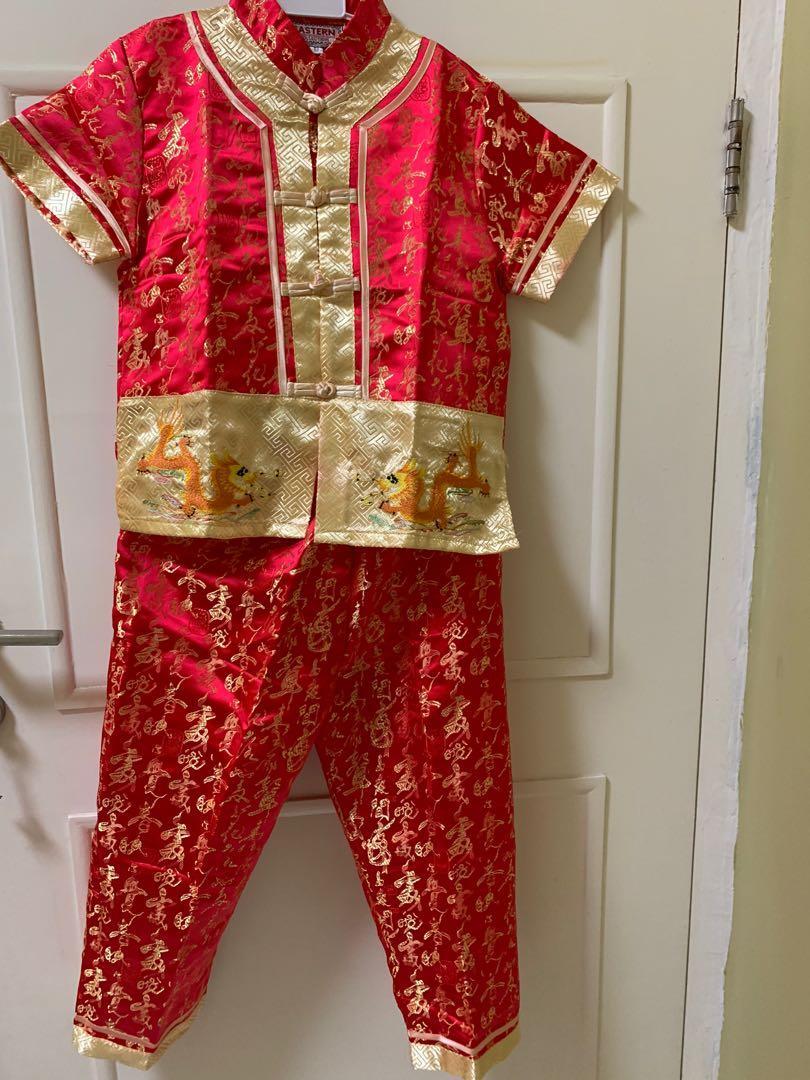 Baju setelan laki laki set cheongsam dragon naga kostum imlek anak merah