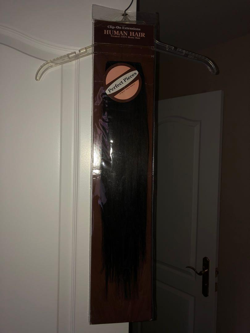 "BLACK Human Hair 18"" Clip-On Extensions (treated 100% Remy Hair)"