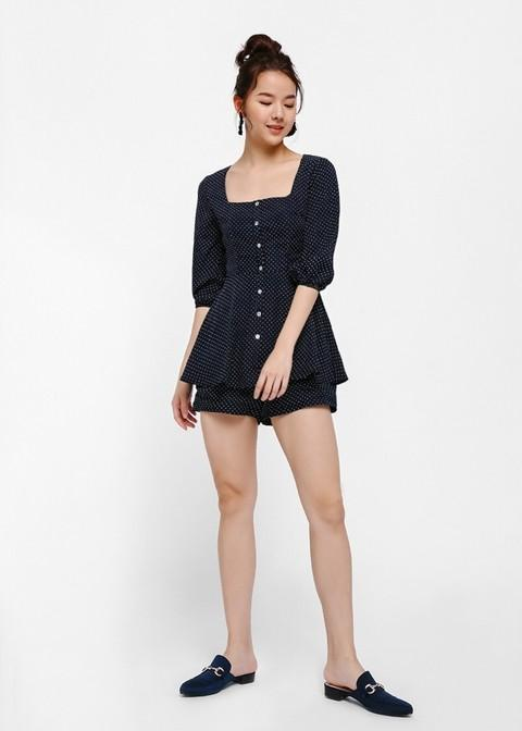 BNWT Love Bonito Lilith Polka Dot Square Neck Playsuit