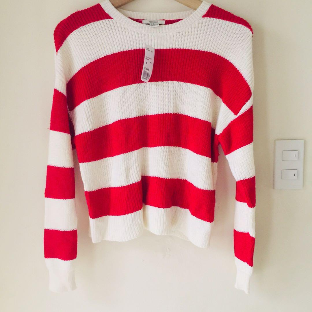 Brand New! Forever 21 Holiday Striped Knit Sweater