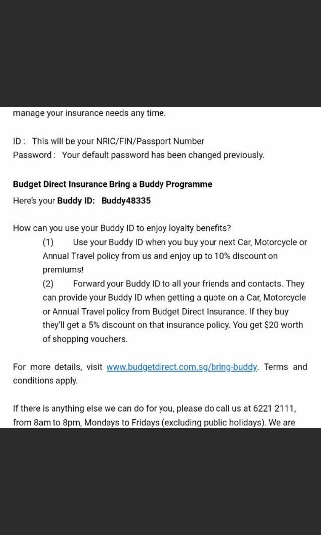 Budget direct insurance buddy ID 5% discount promo codes