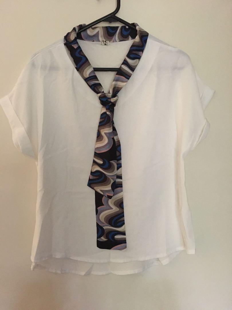 Business casual chiffon top/shirt with neckerchif/scarf