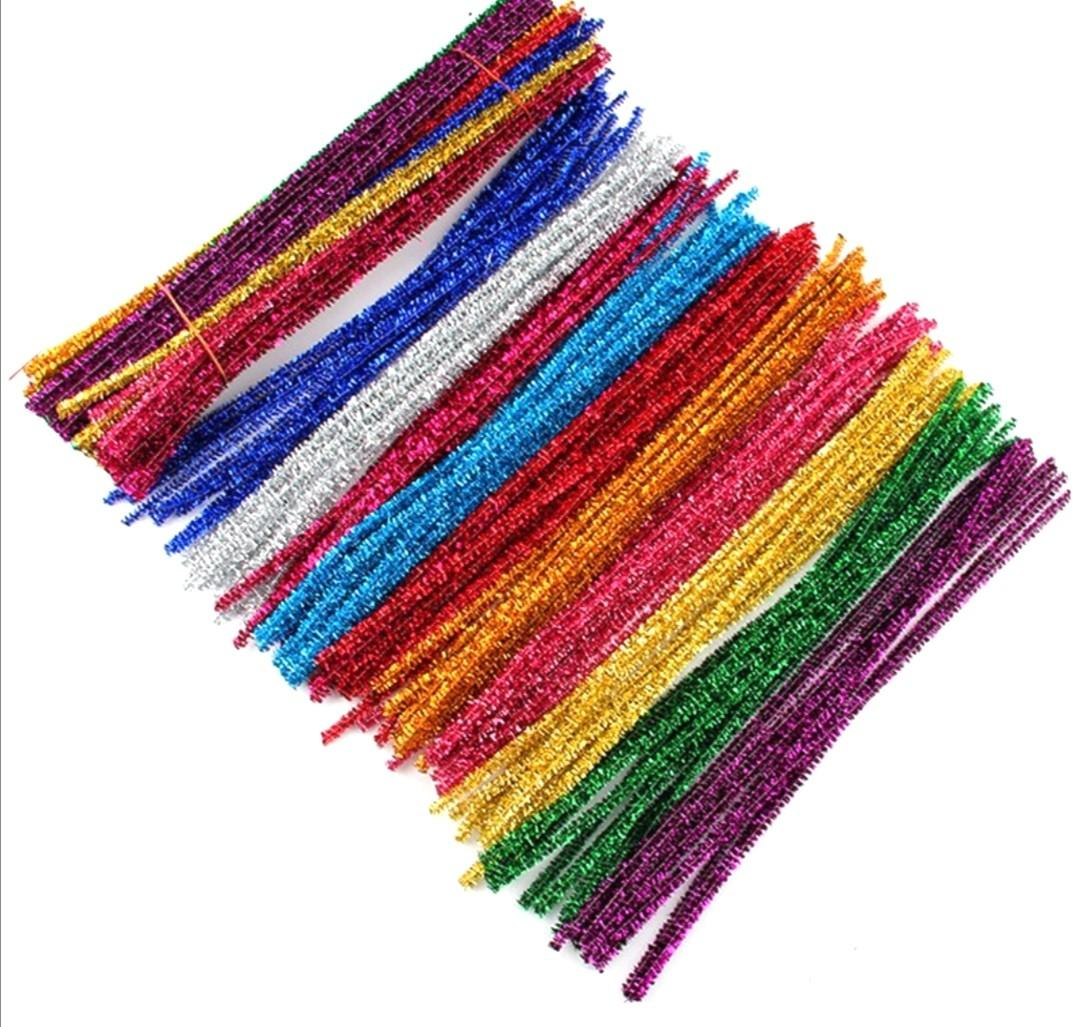 DIY 10 Pieces Glitter Chenille Stems / Pipe Cleaners Colourful - For Christmas, Crafts, Montessori & Fine Motor Skills